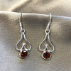 Sterling Silver Genuine Garnet Drop Earrings