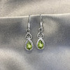 Sterling Silver Pear Shape Green Peridot Drop Earrings