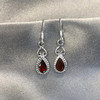 Sterling Silver Pear Shape Genuine Red Garnet Drop Earrings