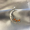 925 Silver Moon Face Pendant with Three Amber Stones