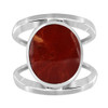 Coral Gemstone Solitaire Womens Ring