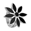 Sterling Silver Black Onyx Gemstone Ring Floral Design