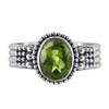 Sterling Silver Oval Peridot Gemstone Solitaire Ring