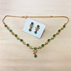 Flower and Leaf Design Necklace Earrings Set