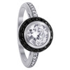 925 Sterling Silver 7mm Round Clear Cubic Zirconia with 1mm Black border Ring