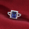 Sterling Silver Blue Rectangle Cubic Zirconia Halo CZ Ring