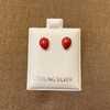 Sterling Silver Pear Shape Spongy Red Simulated Coral Stud Earrings