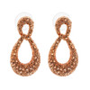 Copper Color Teardrop with Rhinestones Drop Earrings