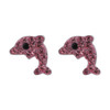 925 Silver Rose Dolphin with Black Eye Stud Crystal Earrings