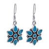 Flower Turquoise Gemstone 925 Silver Drop Earrings