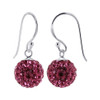 Studded Pink Crystal 925 Silver Drop Earrings