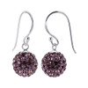 Studded Lavender Crystal 925 Sterling Silver Drop Earrings
