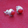Round Coral 925 Silver Stud Earrings