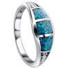 925 Sterling Silver Turquoise Gemstone inlay Southwestern Style 7mm Ring