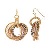 Gold Tone Intricate Circle with Purple AB Beads Earrings