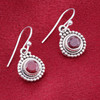 Dyed Ruby Gemstone Sterling Silver Drop Earrings