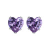 Heart Shape Purple CZ 925 silver Stud Earrings