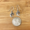 925 Sterling Silver Moon And Star Dangle Earrings