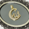 925 Sterling Silver Vermeil Cubic Zirconia CZ Allah with Crescent Star Pendant