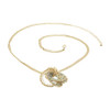 Gold Tone Green Clear AB Beads Link Chain Necklace