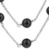 Simulated Pearl Strands Crystal 925 Silver Necklace