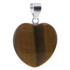 Heart Tiger Eye Sterling Silver Pendant