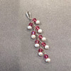 White Freshwater Pearls with Rose Bicone Sterling Silver Pendant