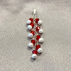White Freshwater Pearls with Light Siam Bicone Sterling Silver Pendant