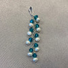 White Freshwater Pearls with Blue Bicone Sterling Silver Pendant