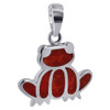 15mm x 20mm Coral Gemstone inlay 925 Sterling Silver Frog Pendant