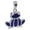 Blue Lapis Lazuli Gemstone inlay Sterling Silver Frog Pendant