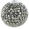 Round Black Diamond Color Disco Ball Sterling Silver Pendant