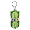 Cube Green Crystal Sterling Silver Charm Pendant