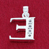 Round CZ Sterling Silver Initial E Pendant
