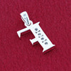 Round CZ Sterling Silver Initial F Pendant