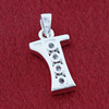 Round CZ Sterling Silver Initial I Pendant