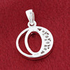 Round CZ Sterling Silver Initial O Pendant