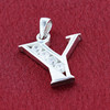 Round CZ Sterling Silver Initial Y Pendant