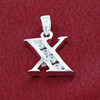 Round CZ Sterling Silver Initial X Pendant