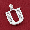 Round CZ Sterling Silver Initial U Pendant