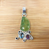 925 Silver Prehnite with Amethyst and Blue Topaz Pendant