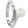 925 Sterling Silver 6mm Round White Freshwater Pearl with Clear Cubic Zirconia RIng