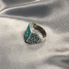 Men's 925 Silver Turquoise Wolf Paw Southwestern Ring