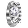 Stainless Steel Tiara Crown Design Cubic Zirconia Accents Ring