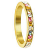 Gold Tone Stainless Steel Multi Cubic Zirconia 3mm Eternity Band