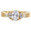 18k Gold Layered Clear CZ Oval with Accents Ring