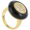 Gold Plated Round Clear Cubic Zirconia Jet Black Enamel 20mm Face Solitaire Ring