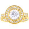 Gold Plated Round Clear CZ Halo Pave Engagement Ring