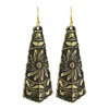 1 x 2.5 inch Kite Shaped Golden with Floral Design Earrings