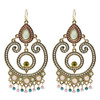 Gold Tone Resin Beads and Glass Chandelier Earrings